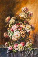 Копия картины Пауля де Лонгпре. Букет из розовых и белых пионов
