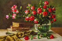 Натюрморт с садовыми розами и книгами